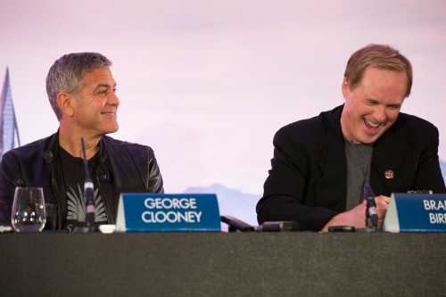 "George Clooney and Brad Bird attends the European press conference of Disney's ""Tomorrowland: A World Beyond"" on May 18 in London, UK (Credit: James Gillham / StingMedia.co.uk)"