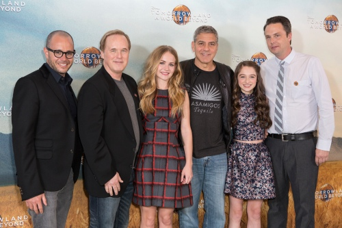 "Damon Lindelof, Brad Bird, Britt Robertson, George Clooney, Raffey Cassidy and Jeff Jensen attend the European photo call of Disney's ""Tomorrowland: A World Beyond"" on May 18 in London, UK (Credit: James Gillham/ StingMedia.co.uk"
