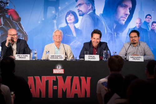 "London UK – JULY  7: Director Peyton Reed, and cast of Marvel's ""Ant-Man"" Michael Douglas, Paul Rudd and Michael Pena attend the press conference in London on July 7, 2015 (Credit: James Gillham / StingMedia.co.uk)"