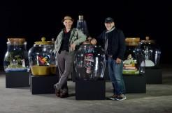 LONDON, ENGLAND, 29TH JUNE 2016: Steven Spielberg and Mark Rylance pose with dream jars from The BFG at Warner Bros. Studios, Leavesden on the 29th June 2016 Photo Joanne Davidson/SilverHub Media 0203 174 1069/07711 972644