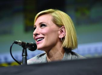 SAN DIEGO, CA - JULY 22: Actor Cate Blanchett from Marvel Studios' 'Thor: Ragnarok' at the San Diego Comic-Con International 2017 Marvel Studios Panel in Hall H on July 22, 2017 in San Diego, California. (Photo by Alberto E. Rodriguez/Getty Images for Disney) *** Local Caption *** Cate Blanchett